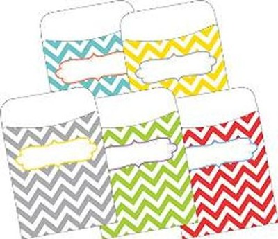 Chevron Beautiful Peel & Stick Library Pockets (Pack of 30)  -