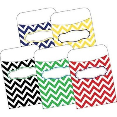 Chevron Nautical Peel & Stick Library Pockets (Pack of 30)  -