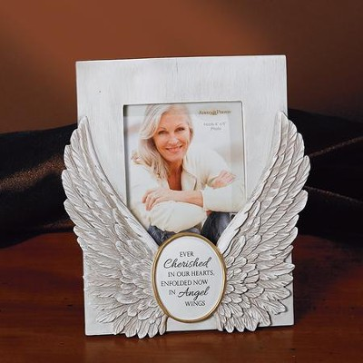 Ever Cherished In Our Hearts, Enfolded Now In Angel Wings Photo Frame  -