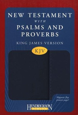 KJV New Testament with Psalms and Proverbs, imitation leather, blue, with flap closure  -