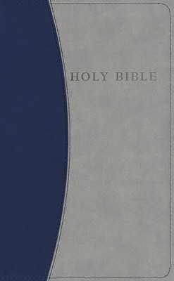 KJV Personal Size Giant Print Reference Bible, imitation leather, blue/gray - Slightly Imperfect  -