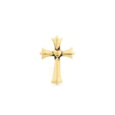 Fleur Cross with Heart Lapel Pin, Gold  -