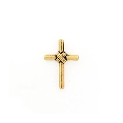 Wrapped Cross Lapel Pin, Gold  -