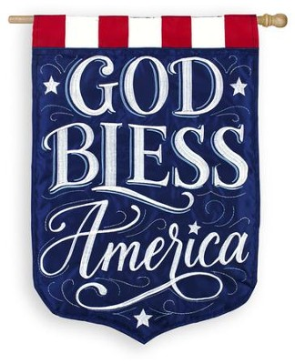 God Bless America, Large Applique Flag  -