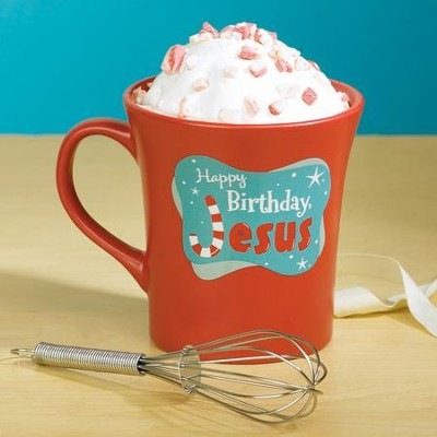 Happy Birthday Jesus, Cake Mug with Whisk  -