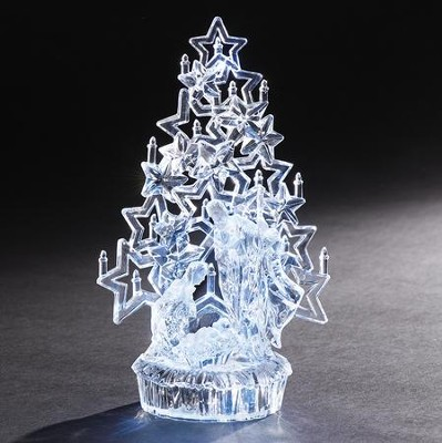 LED Holy Family With Tree Crystal Figurine  -