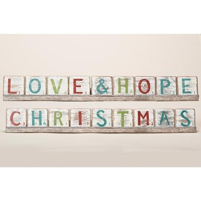 Christmas, Love & Hope Two-Sided Block Plaque  -