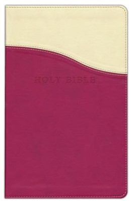 KJV Personal Size Giant Print Reference Bible, imitation leather, cream/raspberry  -