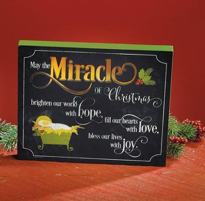 May the Miracle of Christmas Brighten Our World LED Plaque  -
