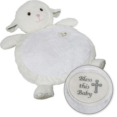 God Bless Baby Mat, White  -