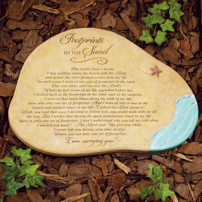 Footprints In the Sand Garden Stone  -
