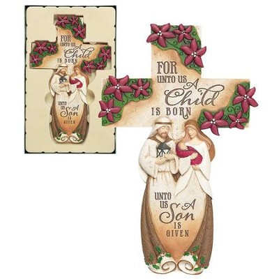 Holy Family Wall Cross Resin Plaque  -