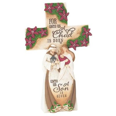 Holy Family Tabletop Cross Figurine  -