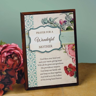 A Prayer For A Wonderful Mother Plaque  -