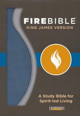Fire Bible KJV version imitation leather, blue/charcoal  - Imperfectly Imprinted Bibles  -