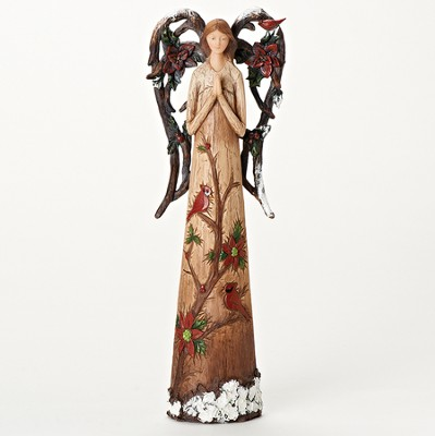 Branch Wings Angel With Cardinals Figurine  -
