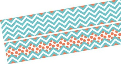 Chevron Beautiful Turquoise Double-Sided Border   -
