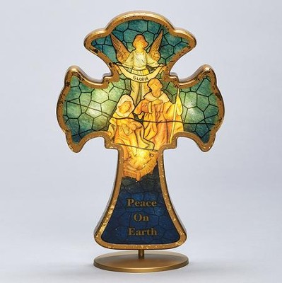 Holy Family Stained Glass LED Cross  -