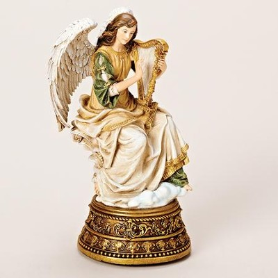 Lovely Angel With Harp Tabletop Figurine