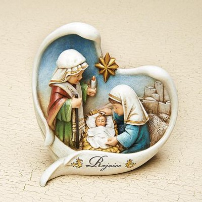 Nativity Kids Pageant In Heart Frame Figurine  -