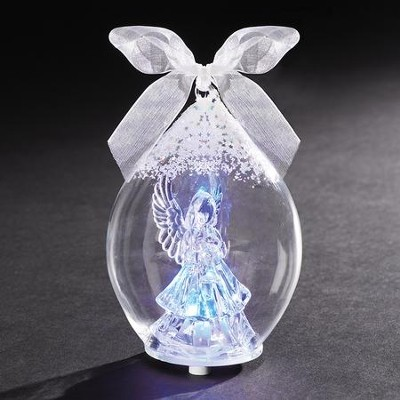 LED Angel In Dome Crystal Ornament  -