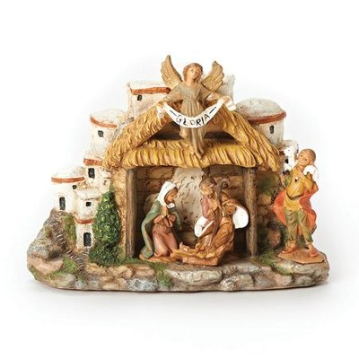 Stable with Town, Musical Figurine  -