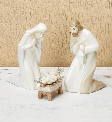 Porcelain Holy Family Nativity Set 3 Pieces   -