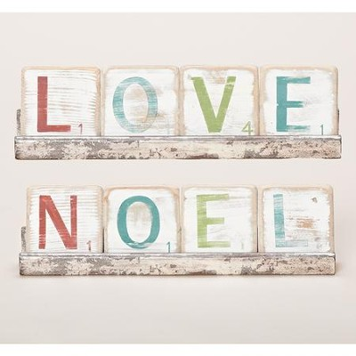 Noel & Love Two-Sided Block Plaque  -