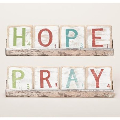 Pray & Hope Two-Sided Block Plaque  -