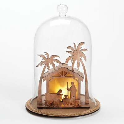 LED Nativity Stable, Glass Dome  -