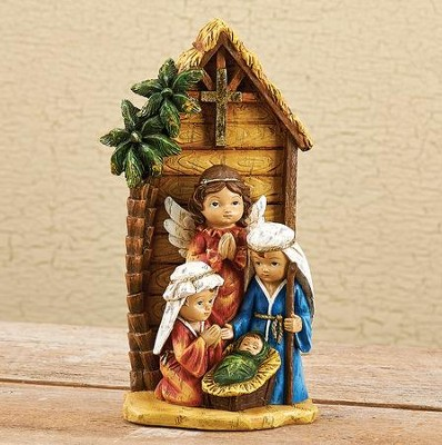 Nativity Kids Pageant With Stable Figurine  -