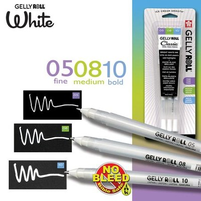 Gelly Roll, Set of 3, Fine, Medium and Bold, White  -
