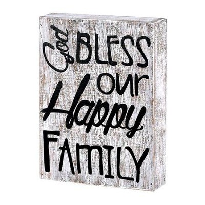 God Bless Our Happy Family Plaque  -