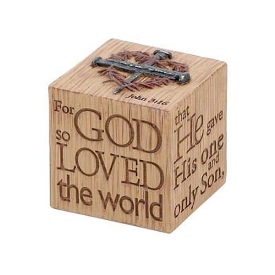For God So Loved the World Tabletop Cube Figure  -