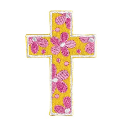 Flower Cross, Iron On Patch  -