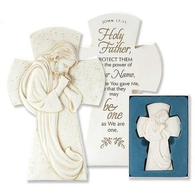 Praying Jesus Cross Figurine, John 17:11  -