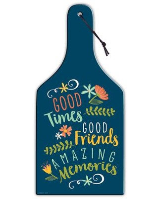 Good Times, Good Friends, Amazing Memories, Glass Cutting Board, Blue  -
