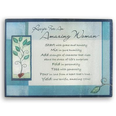 Recipe For An Amazing Woman, Glass Cutting Board, Blue  -