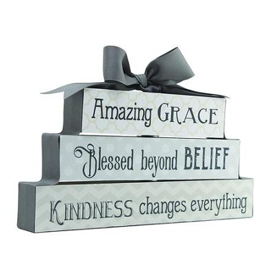 Amazing Grace, Blessed Beyond Belief, Kindness Changes Everything, Block Figurine  -