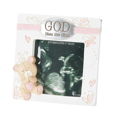 God Bless This Child, Easel Back Photo Frame with Baby Bear, Pink, 3 x 3  -