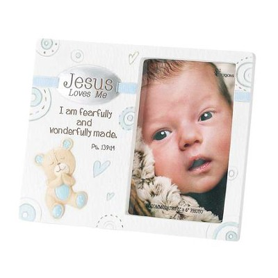 Jesus Loves Me, Easel Back Photo Frame with Baby Bear, Blue, 3 x 5  -