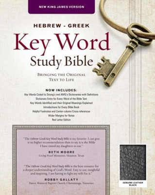 NKJV Hebrew-Greek Key Word Study Bible, Genuine Leather  Black  -