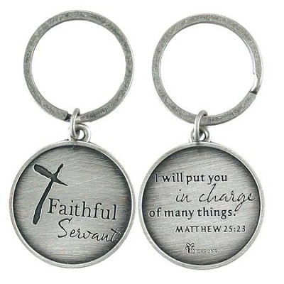 Faithful Servant, Metal Keyring, Matthew 25:23   -