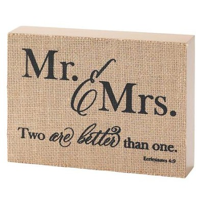 Mr. & Mrs. Jute Tabletop Block, Ecclesiastes 4:9  -