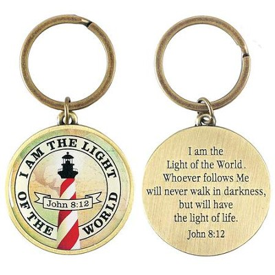 I Am The Light, Metal Keychain, John 8:12  -
