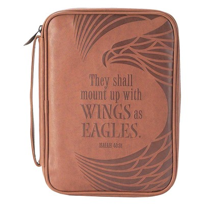 Wings As Eagles, Vinyl Bible Cover, Isaiah 40:31, Brown, Large  -