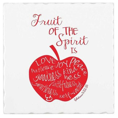 Fruit Of The Spirit, Earthenware Square Trivet, Galatians 5:22, 23  -