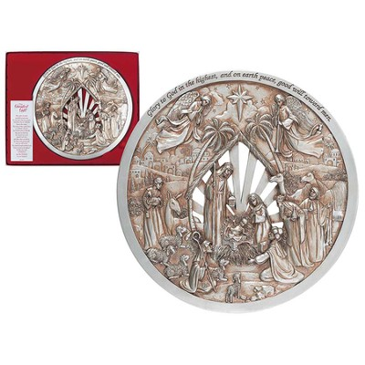 Nativity Glory Round Plaque, Champagne & Silver  -