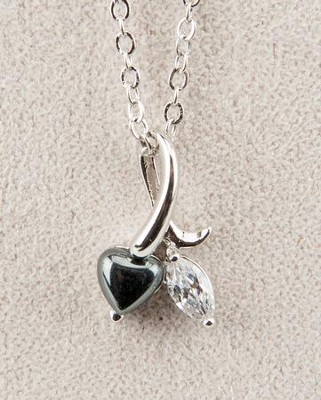 Heart Necklace, Hematite  -