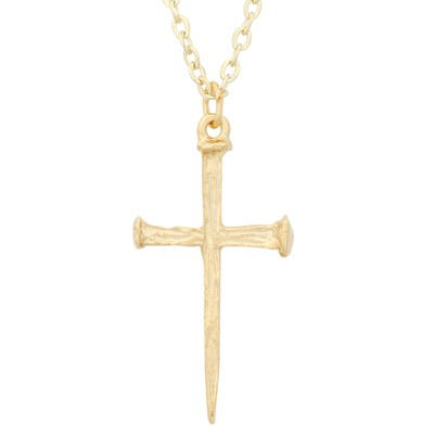 Nails Cross Necklace, Gold Plated  -